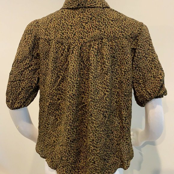 NWT Free People Celia Leopard Animal Print Button Down Tie Front Blouse Top XS